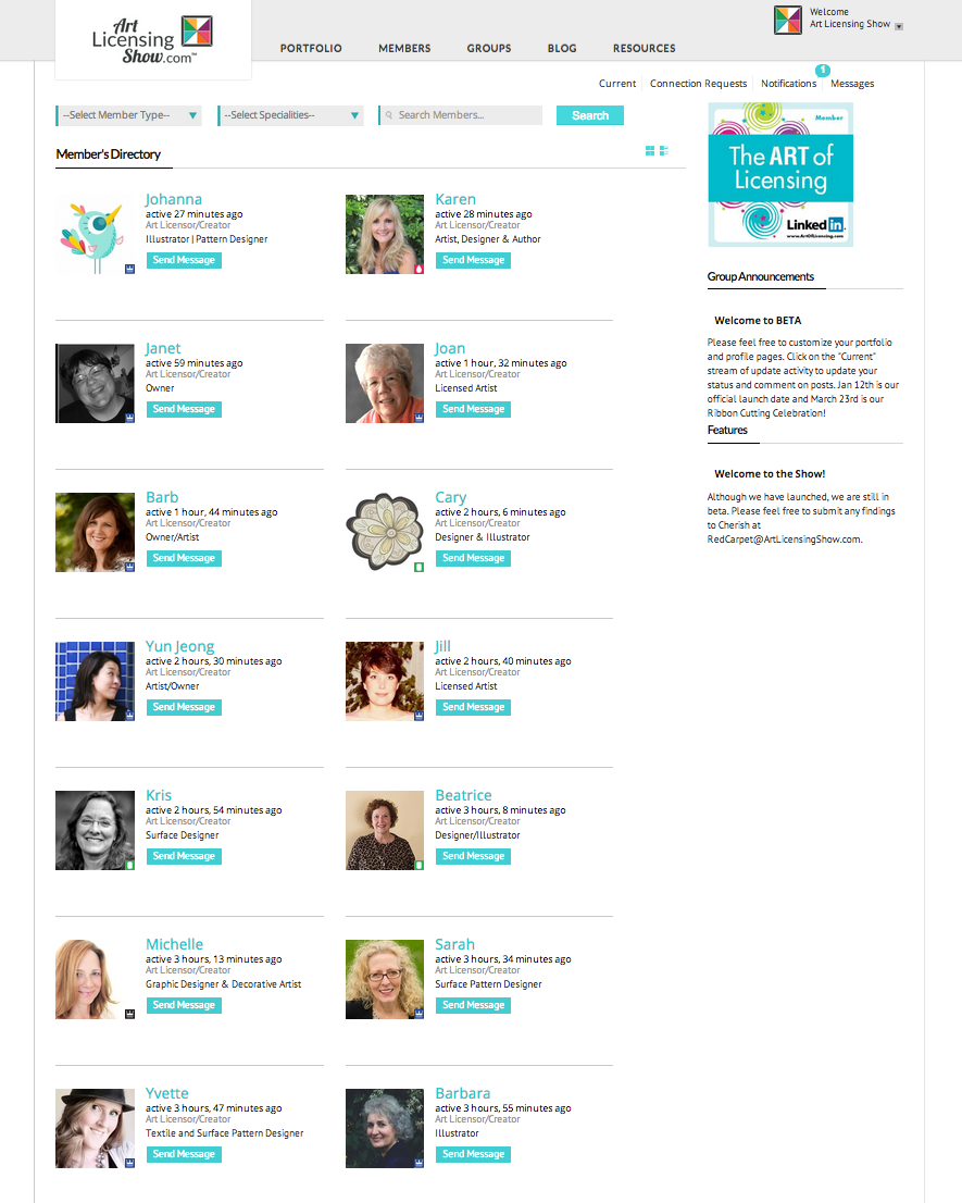 Art Licensing Show Membership Directory Grid View