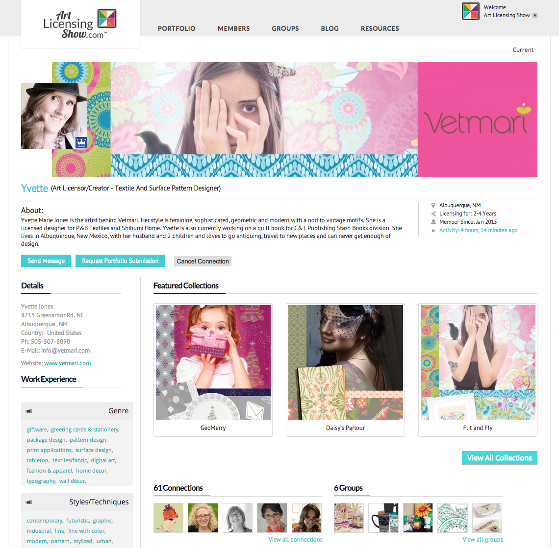 Yvette Marie Jones / Vetmari Art Licensing Show Profile Page